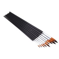 Wholesale 9pcs set Nylon Hair Paint Brush Set Round Pointed Tip Wooden Handle Watercolor Acrylic Painting Brushes Set Artists Art order lt no track