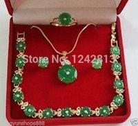nature green jade bracelet - 18k GP real nature green emerald jade necklace bracelet earring ring set