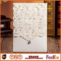 Wholesale 2015 Laser Cut White Hollow Rhinestone Wedding Invitations Wedding Supply Free Printing Birthday Invitation Lace Cards HQ1136