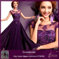 purple dresses - Hot Red A Line Evening Dresses Floor Length Applique Lace Long Chiffon Prom Dresses Crew Purple Sheer Top Sexy Celebrity Party Dresses