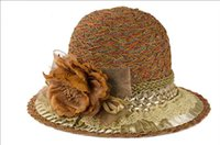 Wholesale Women sun hat bohemia retro style lace floral high quality foldable women summer hat elegant lady bucket hat colors