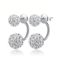 Wholesale 925 Sterling Silver Jewelry Full of Flash Stone Earrings Sterling Silver Stud Earrings Christmas Gift