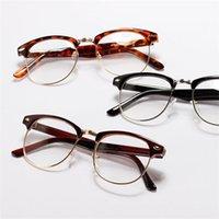 achat en gros de womens lunettes lentilles claires-Unisex Hommes Femmes Half Vintage Frame Lunettes cadre métallique Lens Clear Nerd Lunettes Freeshipping