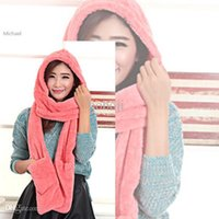 Wholesale New Arrival Modern Winter Warm Lady Women s Pure Colors Plush Hooded Hat Cap Scarves Glove