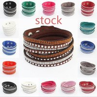 Wholesale Rhinestone Leather Wrapped Women Bracelets Bling Crystal Statement Multilayer Braided Wristband Bangles Colors Large Stocks Adjusted Size