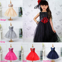 Wholesale New Arrivals Girls Kids Children s Dresses Skirts Polyester Tulle Flower Big Bow Pageant Wedding Fashion Year KA4