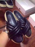 Wholesale designer genuine leather women slides flip flops brand flats sandals lady slippers size42