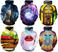 gothic punk - NWT Winter Autumn Galaxy Print Punk Women Fashion D Print Hoodies With Hat Pocket Coat Digital Gothic Print Hooded Pullovers