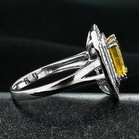 Cheap luxury jewelry 925 silver inlaid Brazilian AAAA grade natural citrine ring RI101419