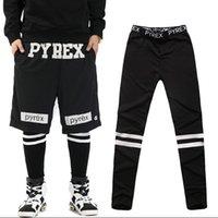 tights for men - Europe Fashion Men s Clothing Leggings Male Stripe Letter Black Dancing Long Pants Tights For Big Boys Hip Hop Skinny Pants M L XL H2682