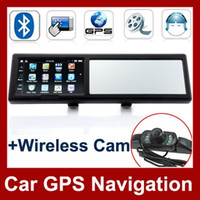 Wholesale 4 Inch Car GPS Navigation With Bluetooth Rearview Mirror AV IN Wireless Camera GB Card Free Map