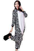 Wholesale Zebra Flannel Fleece Onesie Hooded Animal Pajamas Halloween Cosplay Costume Adult One Piece Cartoon Jumpsuit Unisex Animal Sleepwear