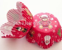 baby shower pastries - RED XMAS Bear Petal Baking Cup Muffin Cake Cases Pastry Tools Baby Shower Decoration