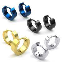 blue stainless steel earring - 4 Pairs Mens Stainless Steel Classic Plain Huggie Hinged Hoop Earrings Black Blue Gold Silver Drop Shipping