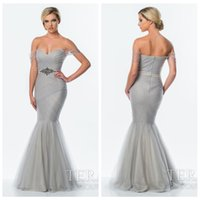 terani - Gray Off The Shoulder Long Prom Dresses New Mermaid Sweetheart Capped Sleeve Zipper Pleated Sweep Train Tulle Terani Evening Party Gown