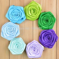 Wholesale Freeshipping Handmade Satin Ribbon Rose Flower Without Hair Clip Hair Accessory MH20