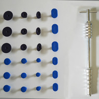 Wholesale 25 pc Paintless Dent Repair Tools with tabs Deluxe Glue Puller T Bar made by full alloy Dent PDR tools