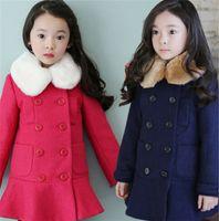 Wholesale Children s Wear Factory Korean Children Girls Fur Collar Plus Cotton Coat Children Coat Girls Cotton Coat