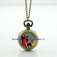 Wholesale Deadpool and Lady Deadpool Pocket Watch Memory Locket Necklace Vine Pocket Watch Necklace Silver WT