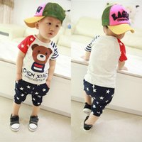 Wholesale Boys Cute Bear Star Striped Pieced Short Sleeve T shirt Cropped Pants NVIE order lt no track