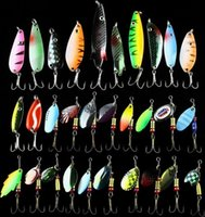 Cheap Hot 30pcs&lot Fishing Lure Mixed color&Size&Weight& Hook&Diving depth Metal Spoon Lures hard bait fishing tackle Free Ship