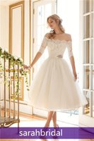 A-Line off white lace bridal wedding dress - Summer Beach Tea Length Tulle Wedding Dresses with Off the Shoulder Neckline Sheer Short Sleeves Beaded Lace Cheap Bridal Gown for Sale