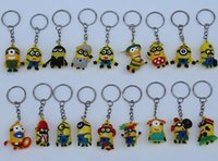 Wholesale 2015 hot sales keychain cartoon D Despicable Me keychain car pendant small yellow people Card Package Minion key chain doll gift