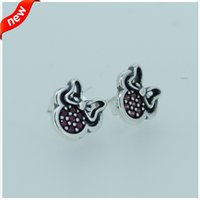 Wholesale pandora Silver Disne y Minnie Earring S tud with Ruby Cz fine jewelry sterling silver ring CE564