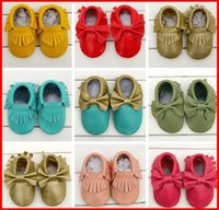 baby shoes - 2016 New Leather Tassels Bow Baby Moccasins Soft Moccs Baby Shoes Kids Genuine Cow Leather Newborn Baby Prewalker Free Fedex Ship