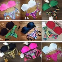 beach bathing girls - Women Sexy Bandage Bikini Brazil Floral Bikini Push Up Bandeau no Padded Tassel Swimwear Lady Girls split Beach SPA Bathing Swimsuits LN S20