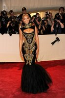 beyonce white dress - 2015 Sexy Mermaid Evening Gowns Beyonce Gala Black and Gold Embroidery Beaded High Neck Floor Length Celebrity Dresses Formal Party Dresses