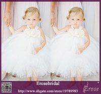 Cheap Ball Gown Flower Girl Dresses White Cute Tulle Tea Length Sleeveless Formal Girl Kids Dresses Wedding Dresses For Little Girl FGD-006