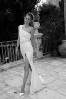 beach informal wedding dresses - 2015 Summer Beach White Sheath Wedding Dresses One Shoulder High Side Slit Wedding Gowns New Design Informal Wedding Dresses BO2683