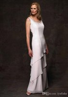Cheap New White Chiffon Mother Evening Dresses Sexy Scoop with Jacket Floor-length Piping A-Line Dress 2015 Custom Made