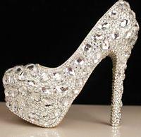 Pumps ballet slipper charm - 2017 spring glass slipper bride wedding shoe manual waterproof crystal wedding shoes bridal shoes best selling