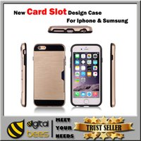 best iphone case for pocket - TPU silicon PC card slot case for Iphone plus samsung NOTE s7 edge J7 best protection anti dropping case for LG