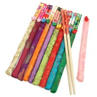 Wholesale 10 Pairs Natural Bamboo Chopsticks Traditional Vintage Handmade Chinese Dinner Eco friendly Hashi Individual Classic Wrapped
