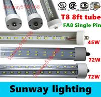 Cheap led tube lights 8ft T8 FA8 Single Pin LED Tube Lights 45W 72W Bulbs SMD 2835 2400MM 8feet LED Fluorescent Tube Lamps 85-265V