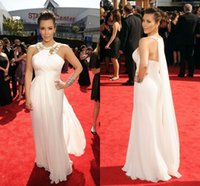 Chiffon Sleeveless Floor-Length Goddess Kim Kardashian Evening Dresses High Neck Beading White Long Chiffon Celebrity Dresses 2015 Hot Selling 2016 Long Prom Dresses Formal