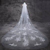 Bridal Veils beautiful flexible - Soft Net Bridal Veil New Unique Design Korean Beautiful Lace D Flowers M Long Wedding Veil Extended Encryption Flexible Bride Veil