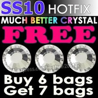 Wholesale Promotion SS10 Bag Clear Crystal DMC HotFix FlatBack Rhinestones trim strass DIY iron heat glass Hot Fix crystal stones
