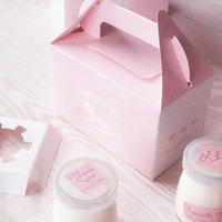 Wholesale Lovely pink cupcake packaging paper boxes Pudding box with handle