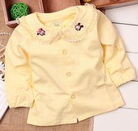 Cheap Girls long sleeve t shirt lace cotton t-shirts children clothing girls blouse autumn shirt ,pink white color wholesale 4pcs lot