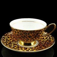 bone china - Leopard print quality bone china coffee cup coffee utensils fashion set black tea cup and saucer garland