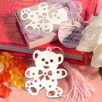 bear wedding greeting - Cute pink Bear Bookmarks With Mini Greeting Cards Tassel Wedding Supplies Pendant Gifts DHL