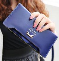 Wholesale Women wallet ultra thin Golden Bow knot Woman ultrathin PU Leather Card Holders Clips Flower Hasp Buckle Open Wallets Clutch Long Purse