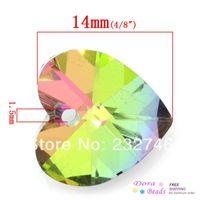 Wholesale Fashion Jewelry Pendants hot Glass Charm Pendants Heart Multicolor Faceted mm x mm quot x quot B30946