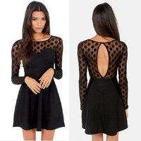 Wholesale New Style Women Dress Slim Round Neck Long sleeved A line Hollow Black Dress CL0013