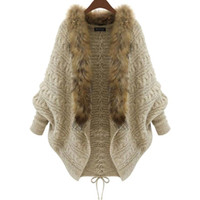 Wholesale 2016 Winter New Cardigan Poncho Fur Collar Outerwear Women Sweater Knitted Brand Casual Knitwear Jacket XL15100702