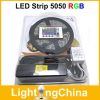 SMD 5050 led light strip - LED Strips RGB LED Strip Light M Waterproof With Keys IR Remote Controller DC12V5A Power Adapter In Retail Package X2
